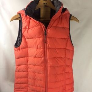 Tangerine Puffer Sz Sm Coral Hooded Vest Lined